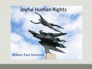 Joyful Human Rights book cover, statue of a man jumping over Pegasus