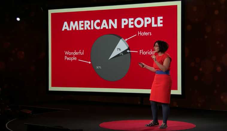 "Negin Farsad in front of a large red slide that has a pie chart on it entitled ""American People"""