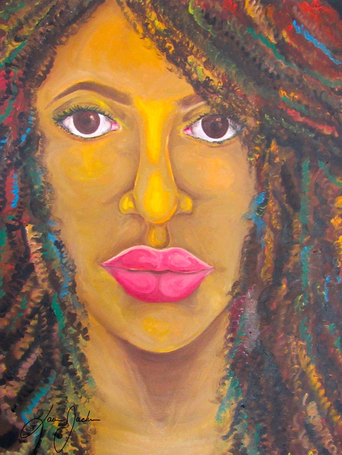Painted close up image of a black woman with colorful streaks in natural hair