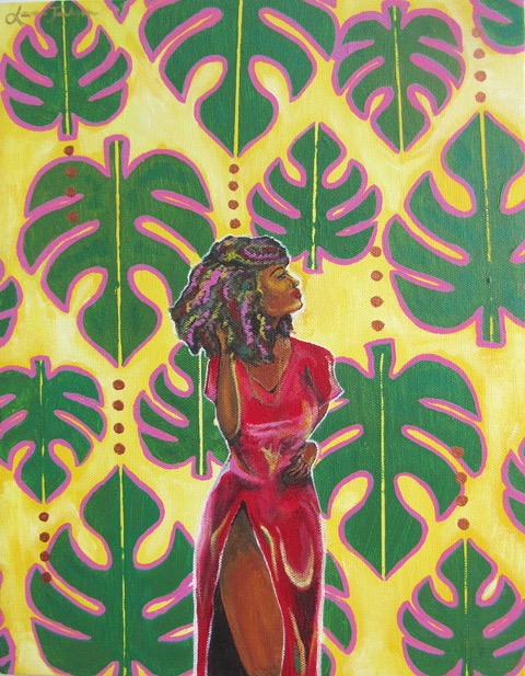 Brightly colored image of black woman in red dress in front of backdrop of large tropical leaves