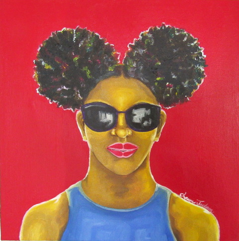 Multicolored image of a black woman with sun glasses