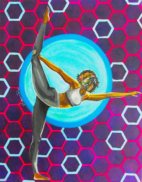 Bright multi-colored print of black woman doing yoga