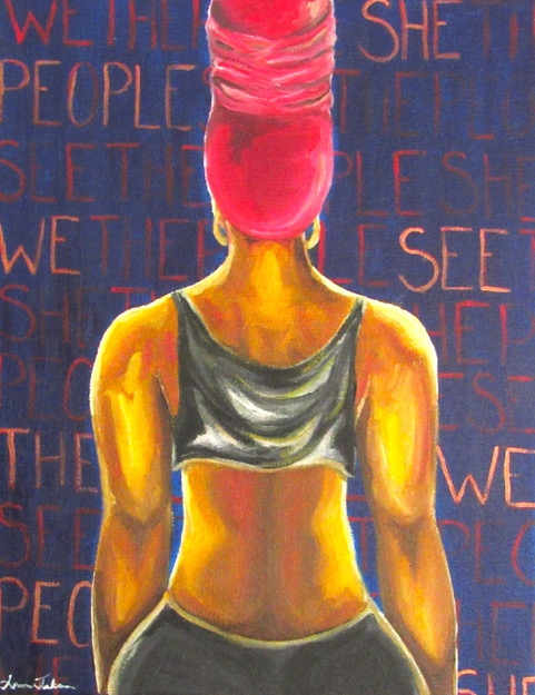 Multi-colored print of a black woman with a pink head wrap