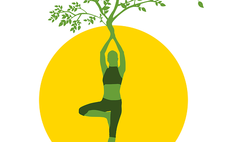 Graphic of green person doing tree pose, branches growing out of their arms and roots growing from their feet