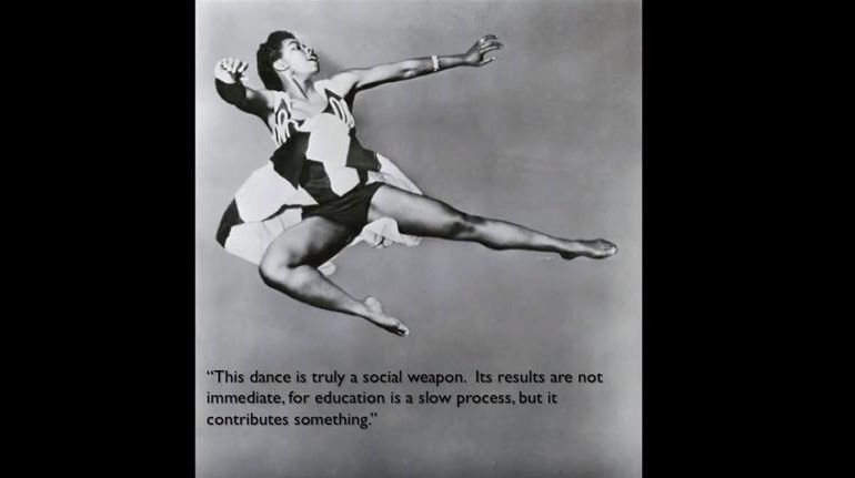 """Woman dancing, """"This dance is truly a social weapon. Its results are not immediate, for education is a slow process, but it contributes something."""""""