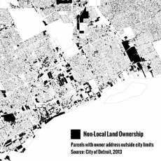 Map of non-local land ownership in Detroit