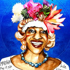 Multi-colored poster of Marsha P. Johnson