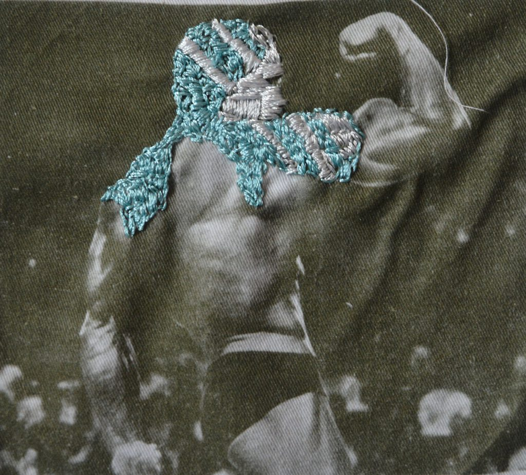 Arnold Chainmail, Archival inkjet print on cotton fabric and blue and white embroidery thread, 4 x 5″