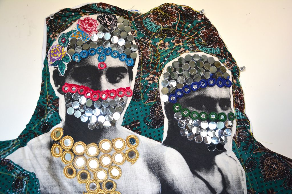 Zhayedan Abdul Lat, photo screen print on muslin, assorted floral polyester fabrics, mirrors,  and hand crafted embroidery