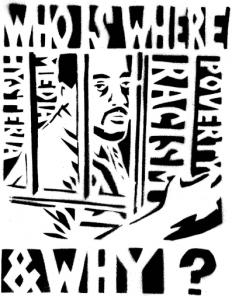 black and white illustration of black man behind bars