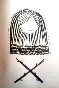 Drawing of a person with long straight hair and closed eyes hovering over an X made out of tree branches