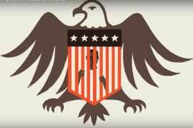Bald Eagle graphic overlaid with American flag as prison bars that cover a black man