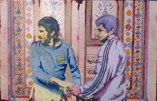 Oil Painting, Pahlavans. Champions in a clandestine embrace, hand in hand, Love blooming in Spring hues