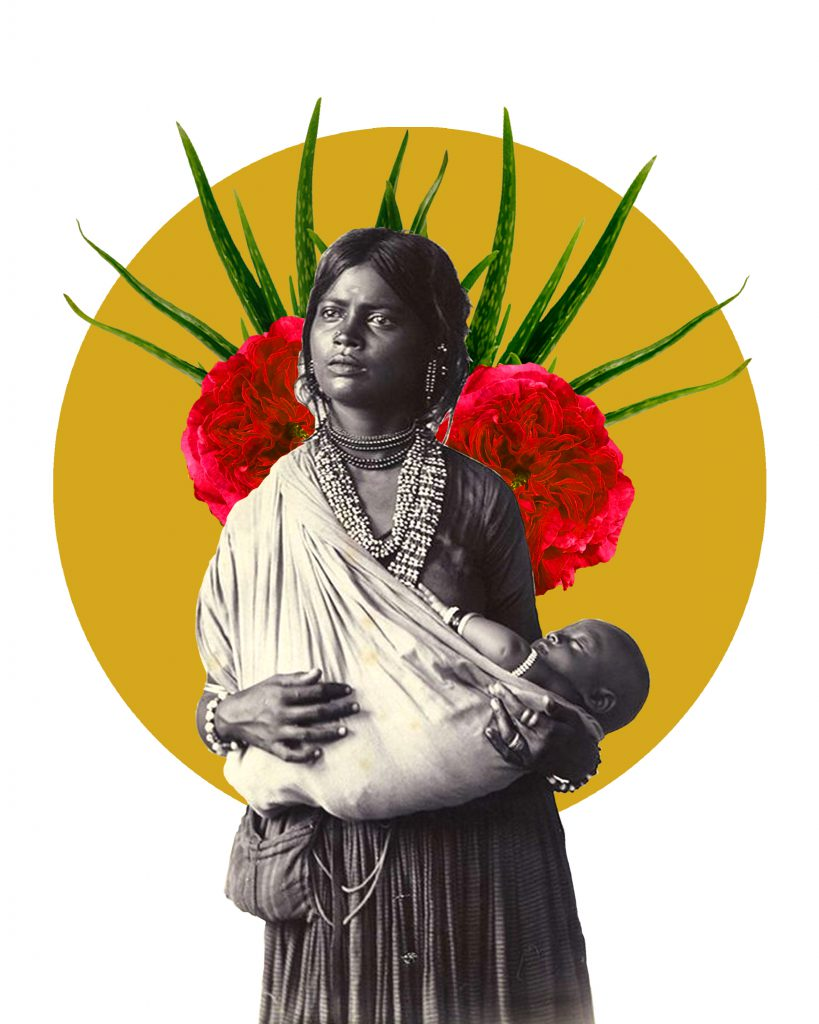 Golden acrylic circled layered with plant and floral cutouts behind black and white photograph of indigenous person holding child