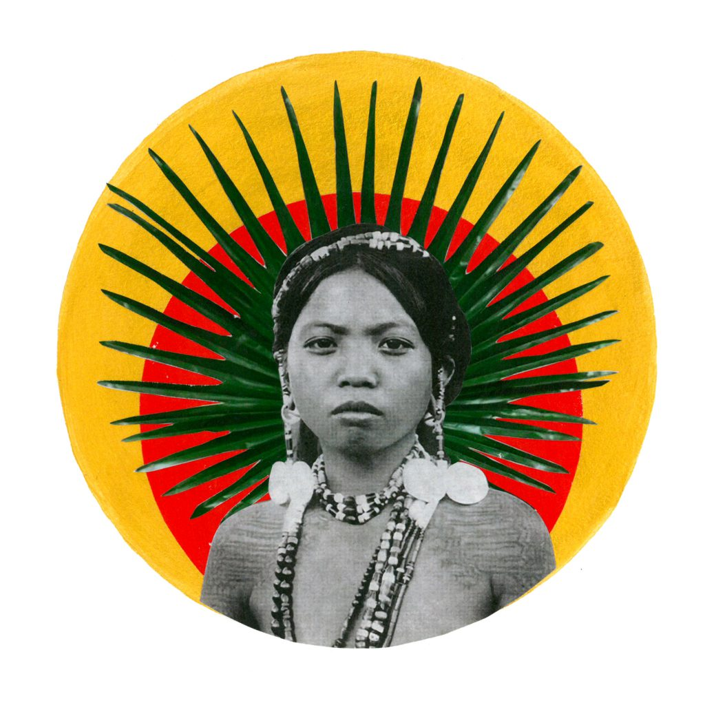 Golden and red acrylic circle layered with plant cutouts behind black and white photograph of indigenous person