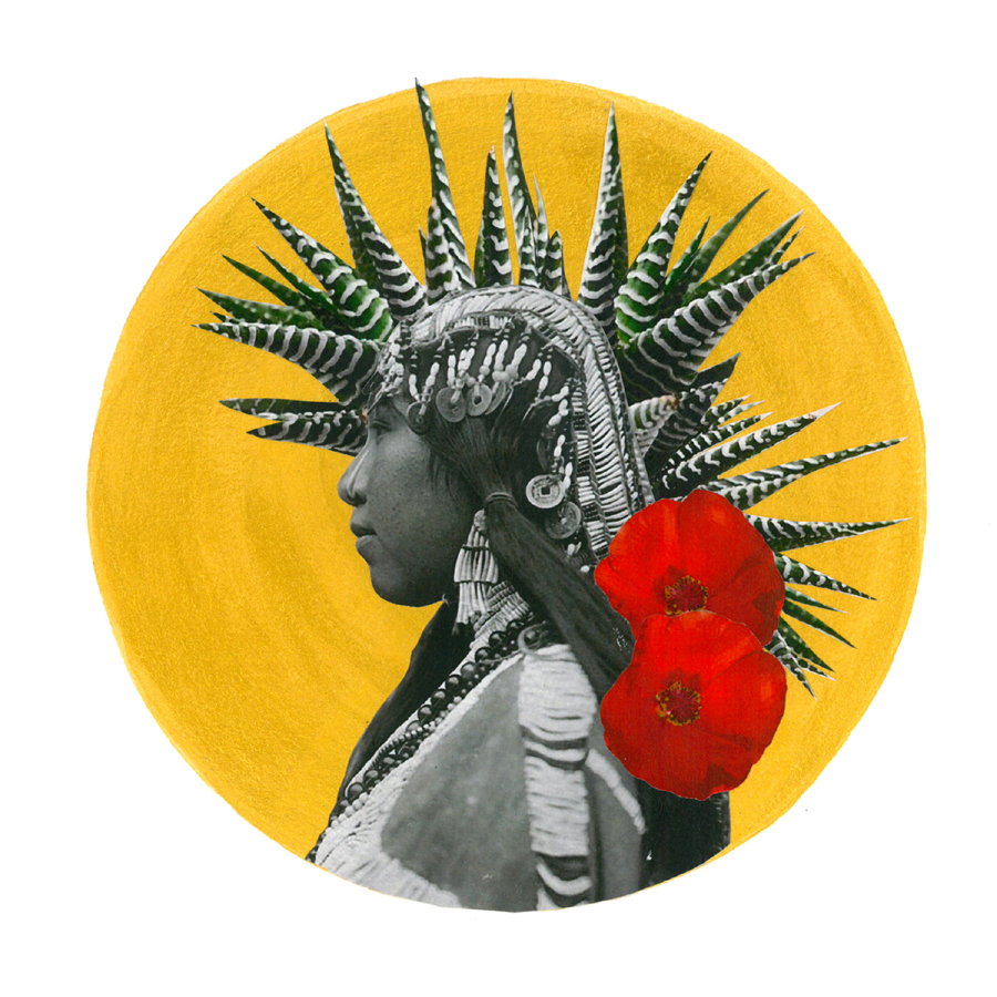 Golden acrylic circle layered with plant cutouts behind black and white photograph of indigenous person