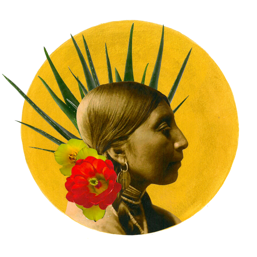 Golden acrylic circled layered with plant and floral cutouts behind black and white photograph of indigenous person
