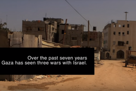 "Gaza landscape, text ""Over the past seven years, Gaza has seen three wars with Israel"""