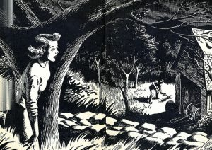 Nancy Drew peaking around a tree Illustrated End Papers