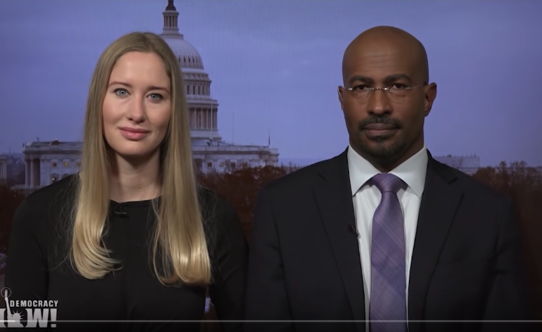 Jessica Jackson Sloan and Van Jones sitting together for Democracy Now!