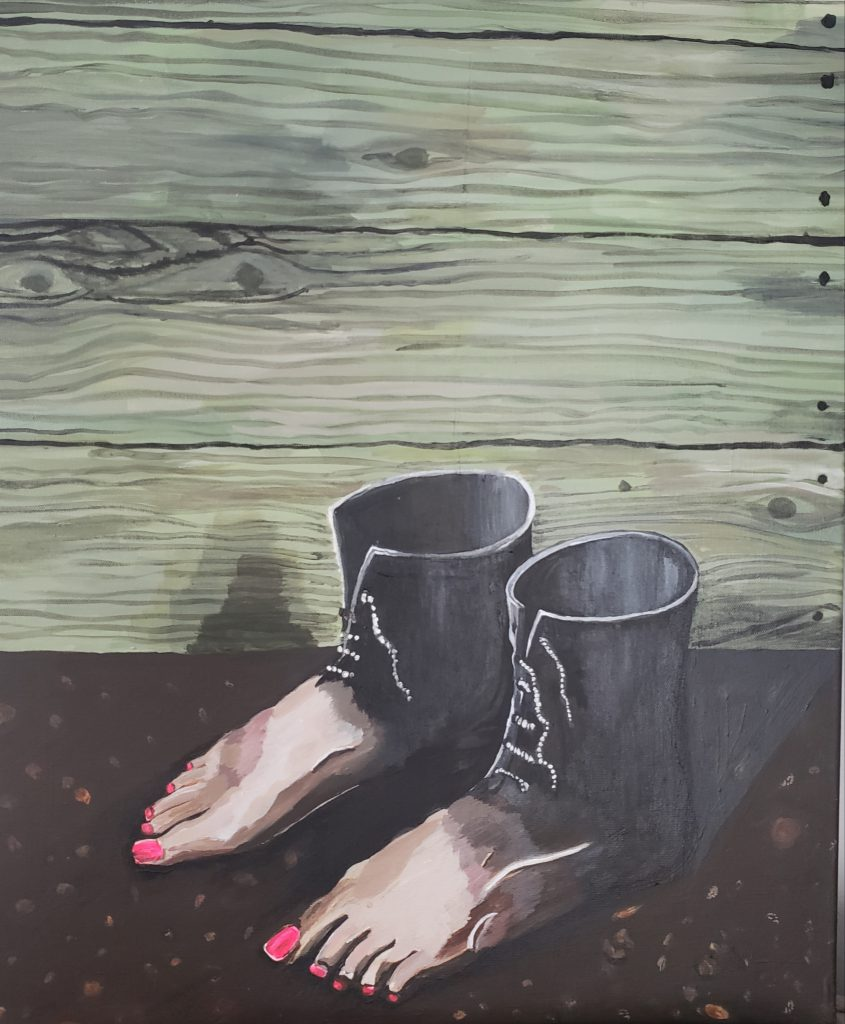 Surrealist interpretation of boots turning into bare feet with painted toe nails