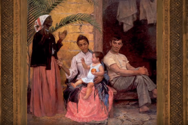 "Painting titled ""Redenção do Can,"" of a Brazilian family progressively getting whiter through the generations, beginning with a black grandmother, a mixed race daughter with a white Portuguese immigrant, and their white baby"