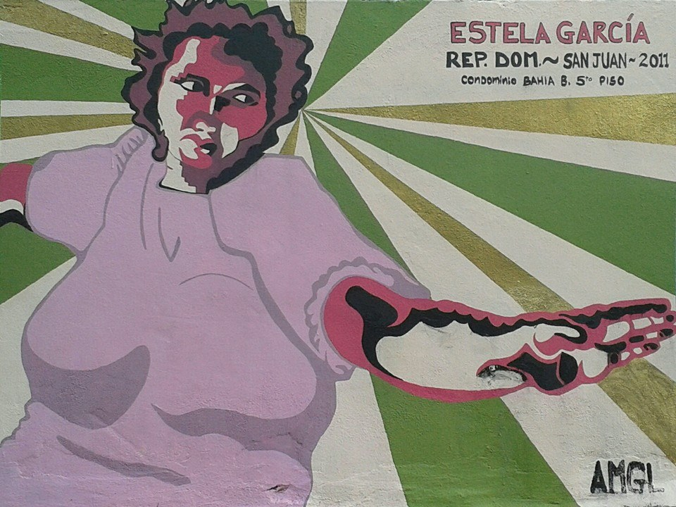 "Brightly colored portrait of Dominican migrant woman with the name ""Estela García"""