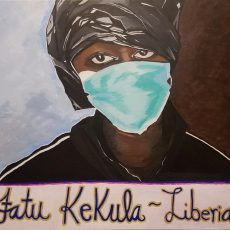 Acrylic Portrait of Fatu Kekula with medical mask over mouth and nose