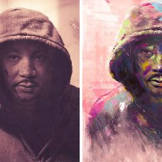 Two graphics of Martin Luther King, Jr. wearing a hoodie, one side sepia-toned, the other side painted more colorful