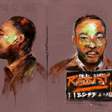 "Painting of Martin Luther King, Jr. reminiscent of a mug shot, nameplate reads ""RESIST"", text reading April 12, 1963"