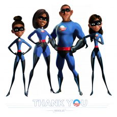 Graphic of the Obama family in blue Incredibles costumes