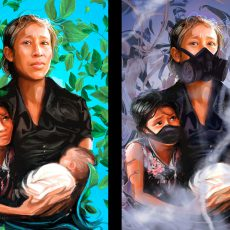 Two paintings of a migrant woman with a daughter and a baby, one side with a green and blue background, the other side with a darker purple background and they are all wearing gas masks