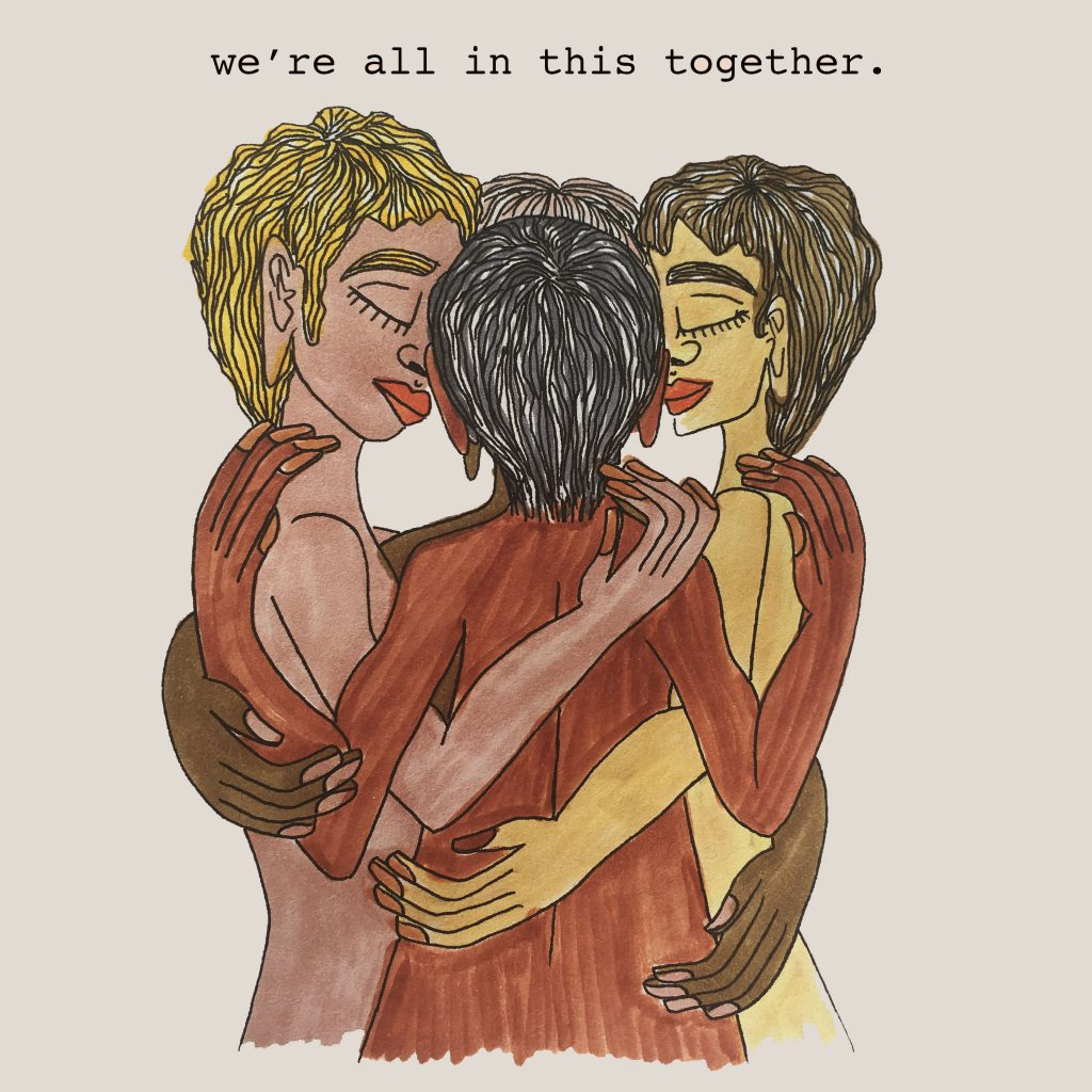 """Four figures holding one each other in a circle with caption """"we're all in this together"""""""