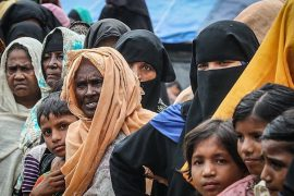A close up image of a group of Rohingya displaced Muslim women and children