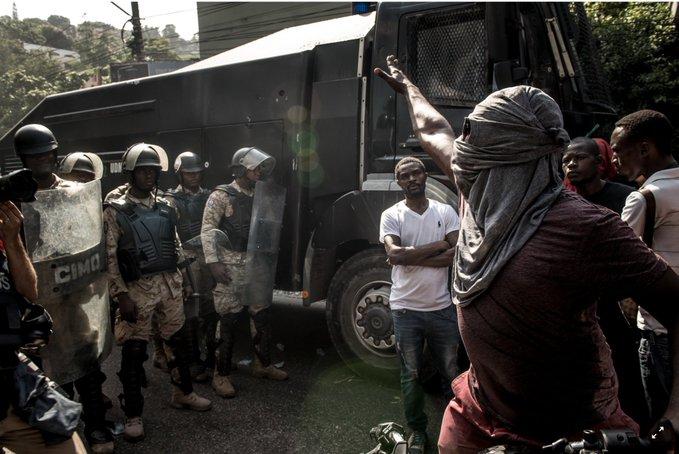 Protest in Haiti.