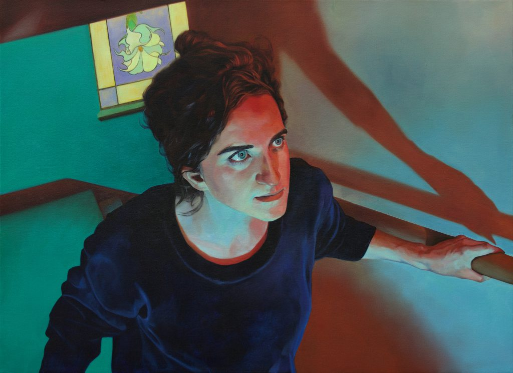 A painting of a women walking up a stairway while staring into the space ahead of her. She is illuminated by red and turquoise light