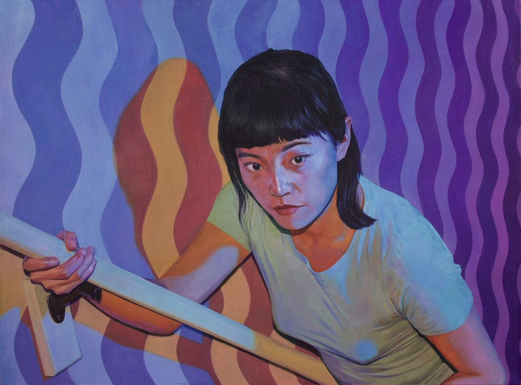 A painting of a women walking up a stairway while staring into the space ahead of her. The wall is painted with waved stripes pattern