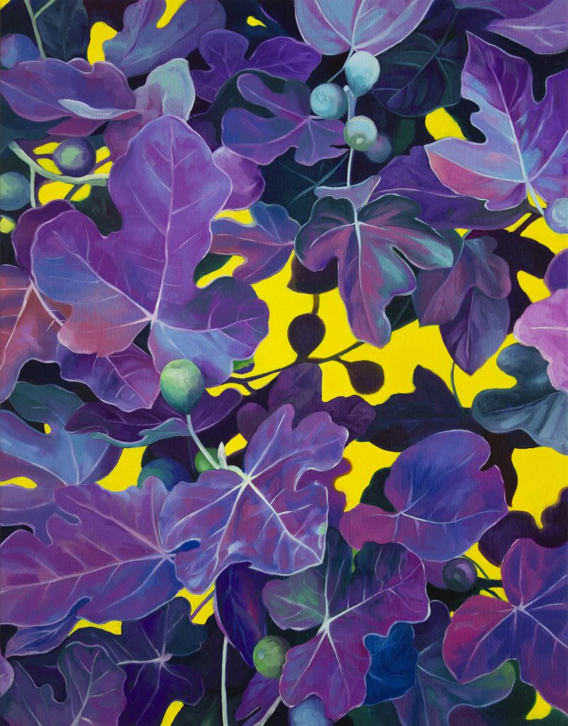A painting of a wall of purple fig leaves against bright yellow background