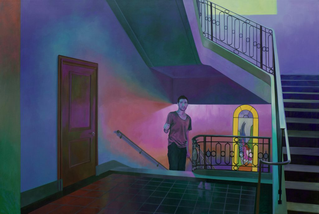 A painting of spacious stairwell space, painted in blue, turquoise, purple, and pink. A man walks up into the space with hesitation, behind him is a yellow stained glass window