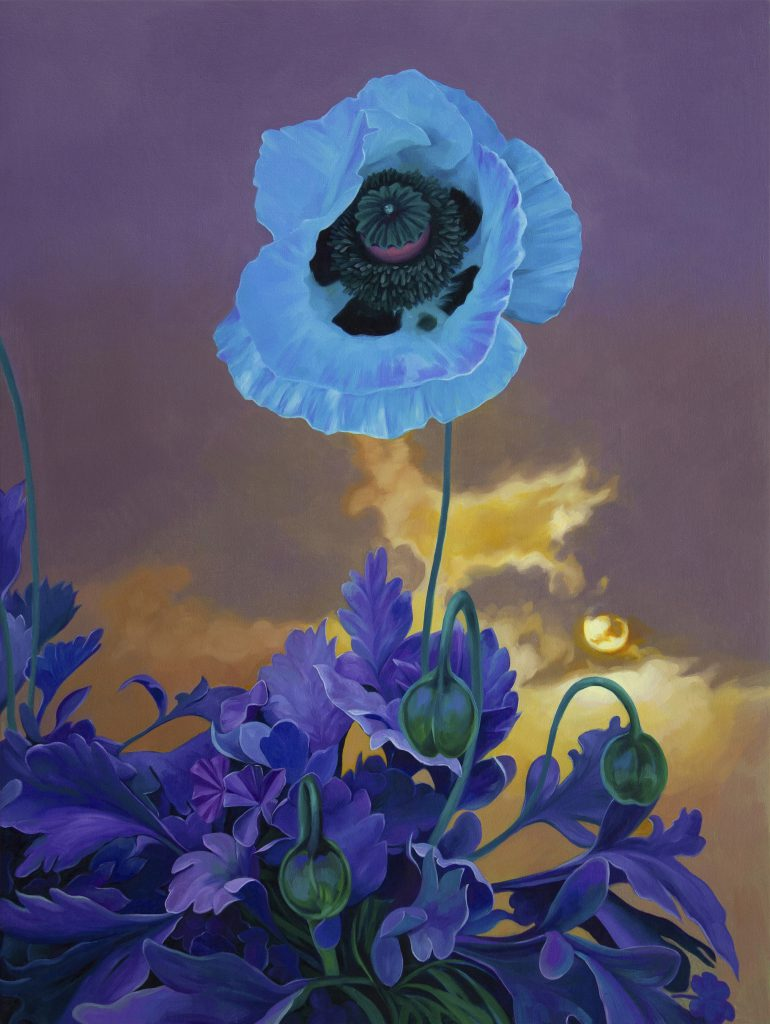A painting of a poppy flower in a mutated light blue color against background of warm sunset sky, composed in portrait style
