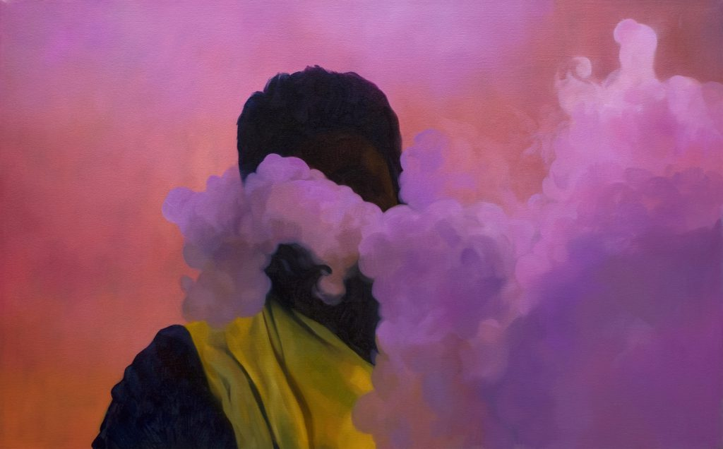 A painting of a man against bright pink background, with smoke half covering his face