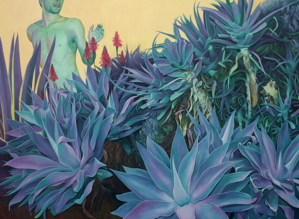 A painting of lush green-blue succulents with an anonymous nude man in the pale yellow background