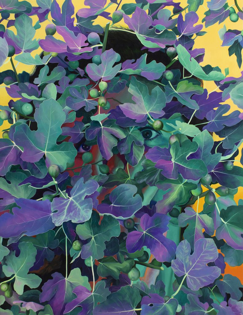 A painting of a dense wall of green and purple fig leaves with a larger than life face looking through it from behind