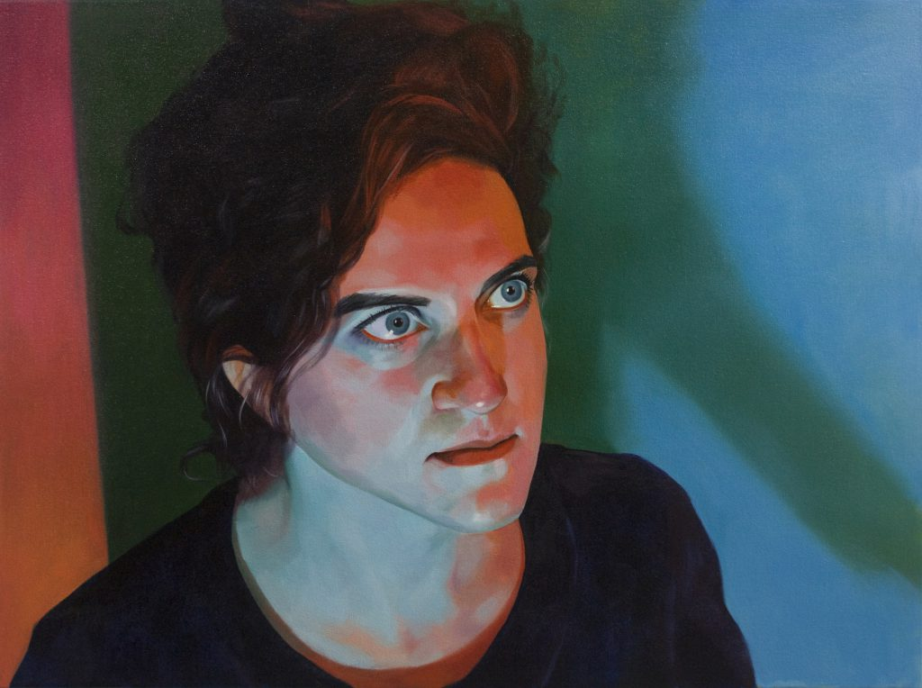 A painting of a women staring into the space ahead of her. She is illuminated by red and turquoise light