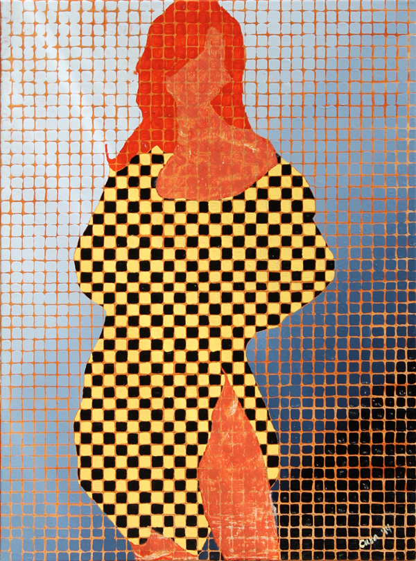 a female figure broken into gridded squares. The colors have been simplified into a scraped down brown textured look for the skin. The same brown color is glossy for the hair, and the clothing is simplified into black and yellow squares. The female is looking at you in a straight forward pose.