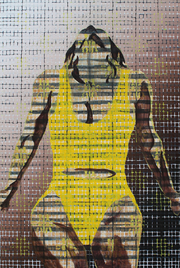 """a female leaning back against a ledge in a yellow bathing suit. The whole image is broken into squares on a grid. The female image is almost transparent except for shadows agains a blue striped background. The background also includes and yellow patterned image of a baby doll sewing pattern that resembles the French """"Fluer de Lis."""""""