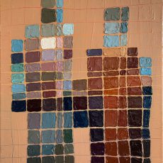 a very abstracted girl duo. The background is a fleshy brown with a grid scraped in revealing a rainbow color underneath. The two girls are made up of blue squares that revealed their color when the artist censored the original images with censor block grids.
