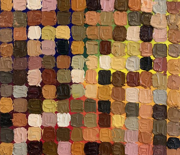 a grid of very textured various shades of brown. The grid is set on a back ground of a rainbow in a radial form, almost like a color wheel. The squares are about 1 inch in size and raise off the canvas a little more than one sixteenth of an inch.