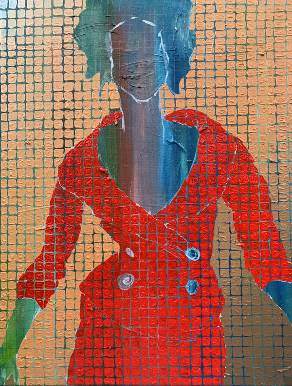 a women in a red business suit in a motion like she is walking toward the viewer. She is visible from the hips up. The women is just a silhouette, the green and blue textured background showing through as her skin and features. The whole picture is broken up into squares on a grid.