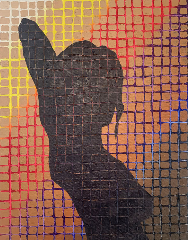 a silhouette of a nude women with her arm up. Woman is against a background consisting of two layers. The first layer is a rainbow going from dark colors in the lower left hand corner to light color is the upper left hand corner. The second back ground layer is a gradient of brown squares from dark to light starting in the lower right hand corner. The grid is also carved into the women's silhouette revealing the colors beneath her image.